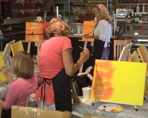 Easel And Wine Art Party at Village Market in Incline Village Lake Tahoe